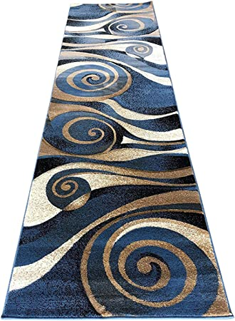 Amazon Com Sculpture Modern Long Contemporary Runner Area Rug Blue Black Beige Design 258 32 Inch X 10 Feet Furniture Decor
