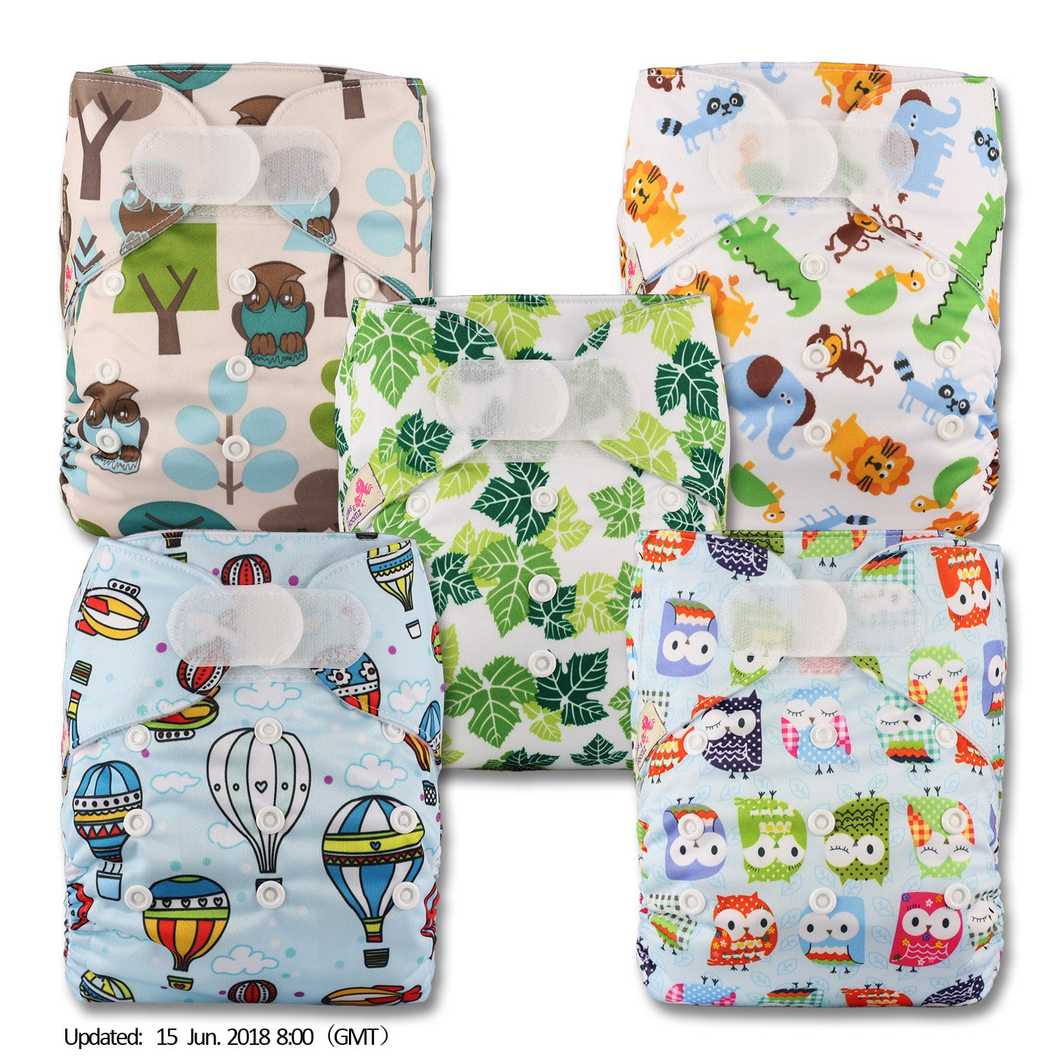 Littles & Bloomz, Reusable Pocket Cloth Nappy, Fastener: Hook-Loop, Set of 5, Patterns 501, With 5 Bamboo Inserts