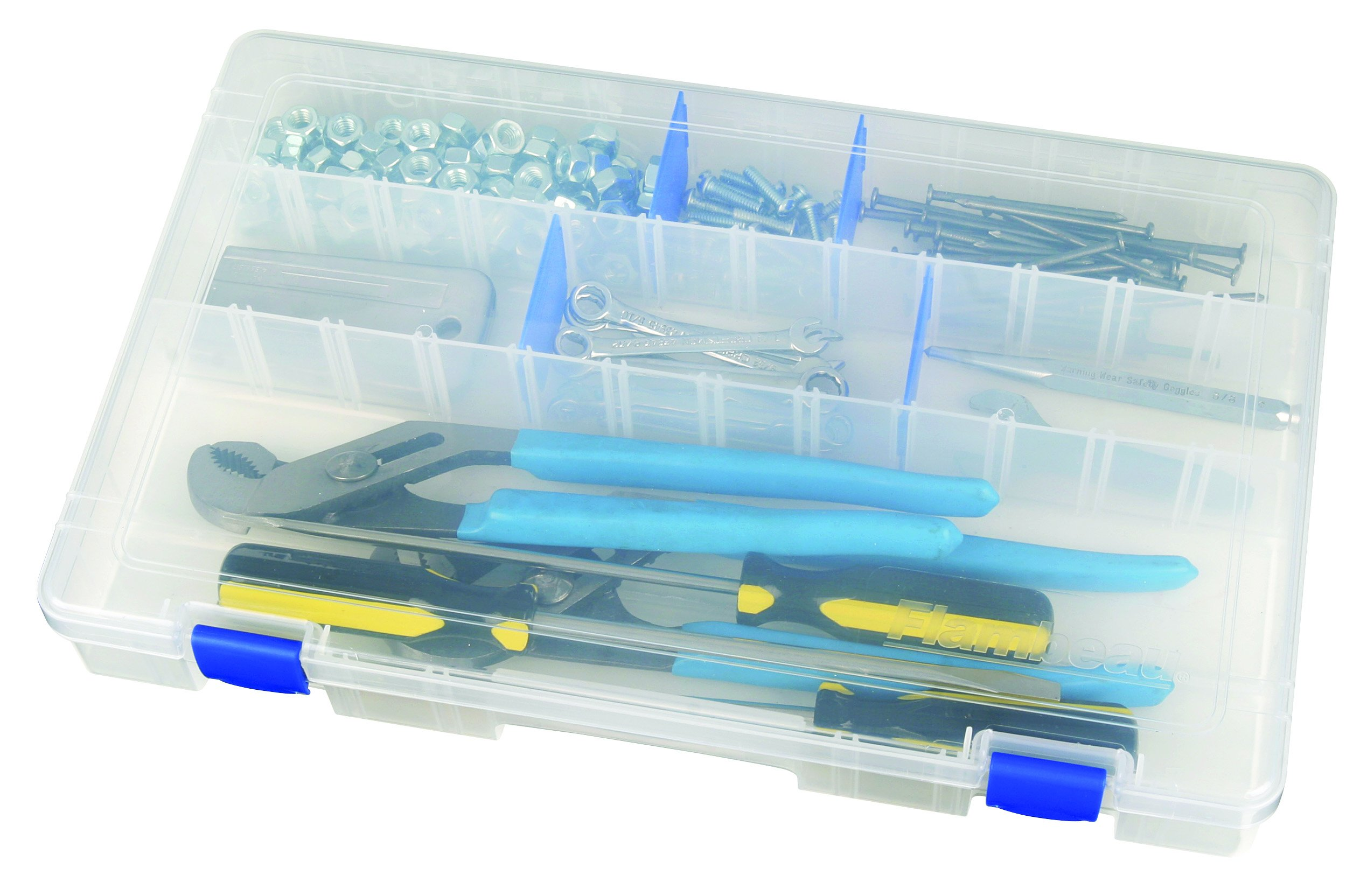 Flambeau Tackle Tuff Tainer Tackle Station with 3 Fixed Compartment (Clear, 16.5x9x1.5-Inch)