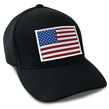 USA American Flag Tactical Flexfit Fitted Cool Dry Hat Red White ... f8dd5892d8e