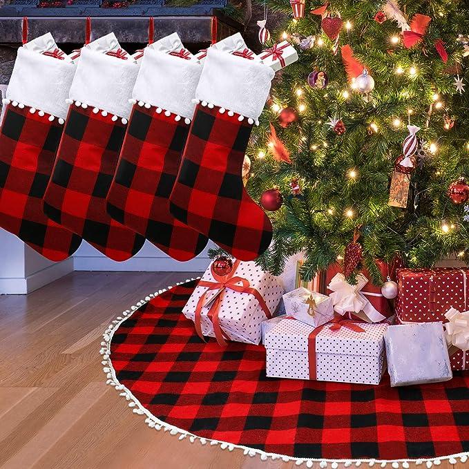 Falda de Árbol de Navidad 48 Pulgadas a Cuadros con Pompones 4 ...