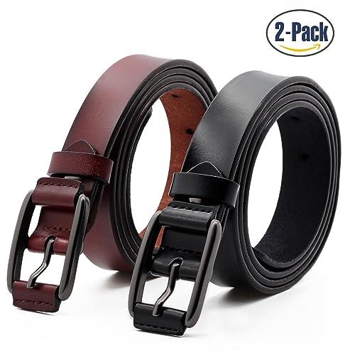 Set de 2 Mujer Cinturón Piel de vacuno Moda Cinturones Ajustable Cintura Retro Ropa Para Jeans Panta...