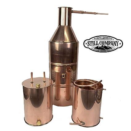 10 Gallon Copper Moonshine Whiskey & Brandy Still with 3 Gallon Worm & 3  Gallon Thumper, 1/2 OD Tubing by North Georgia Still Company