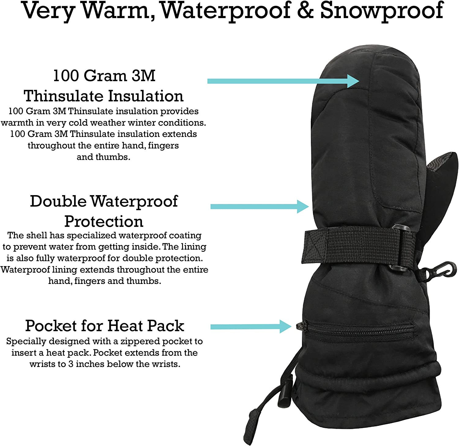 N'Ice Caps Men's and Women's 100 Gram Thinsulate Waterproof Ski Mittens and Gloves at  Men's Clothing store
