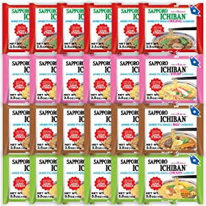 Sapporo Ichiban Variety Flavors Mix Packs Instant Ramen, Original, Beef, Shirimp Chicken Flavors Noodle Soup (Pack of 24)