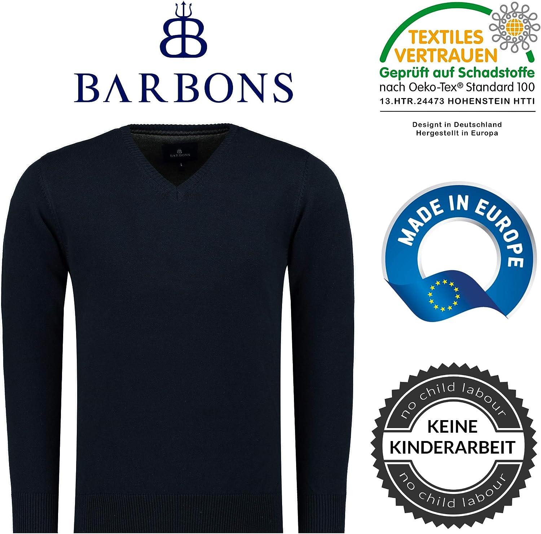 1 BARBONS Maglione con Scollo a V da Uomo Blue Navy M Maglione Lavorato a Maglia Miscela di Cotone di Alta qualit/à Slim Fit