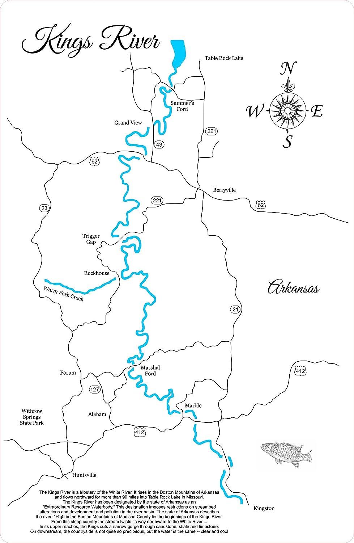 Amazon Com Kings River Arkansas Framed Wood Map Wall Hanging