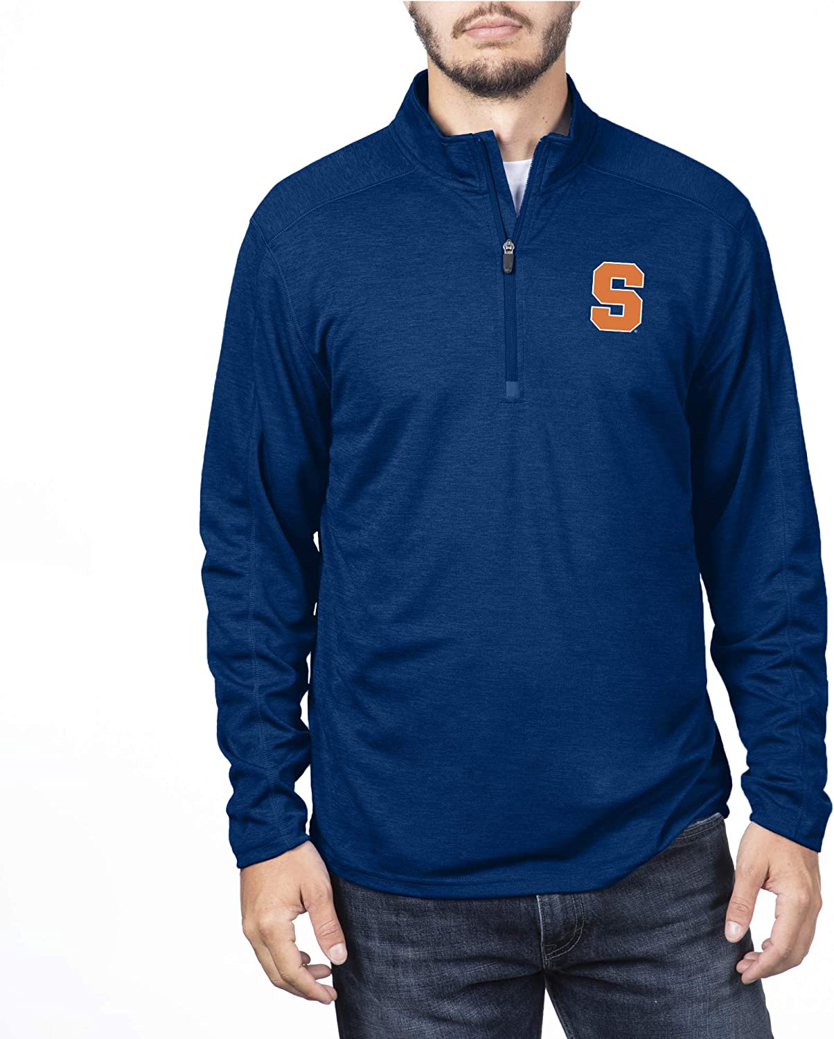 Syracuse Orange Navy NCAA Syracuse Orange Male Team Color Heathered Poly Half Zip Pullover Medium