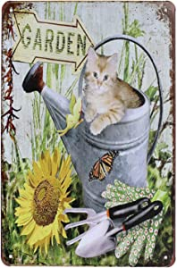 UOOPAI Cute Cat in The Garden Rural Antique Metal Tin Sign Vintage Wall Decor