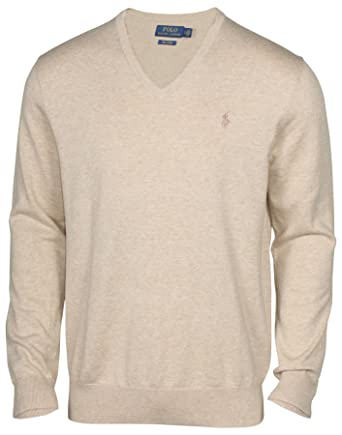 Polo Ralph Lauren Men\u0027s Pima Cotton V-Neck Pony Sweater-Natural at Amazon Men\u0027s  Clothing store: