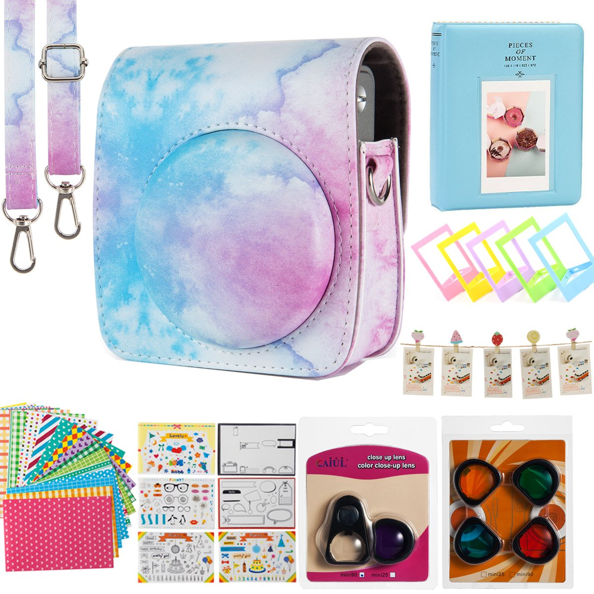 Flylther Mini 90 Instant Flim Camera Accessories 8 in 1 Bundles Set for Fujifilm Instax Mini 90 Camera (Case/Albums/Frames/Film Stickers/Filters) - Blue Pink Watercolor by Flylther