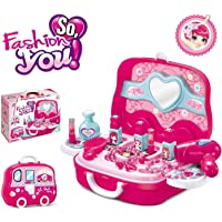 VikriDa Branded Children Beauty Makeup Kit Pretend Play Cosmetic Set Toy Kids Role Games Tools Accessories Portable Suitcase (17in1)