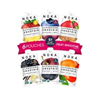 NOKA Superfood Smoothie Pouches (Variety) 6 Pack, 100% Organic Healthy Fruit And Veggie Squeeze Snack Packs, Meal Replacement, Non GMO, Gluten Free, Vegan, 5g Plant Protein, 4.2oz Each