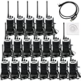 Retevis RT7 Walkie Talkies Rechargeable UHF 400-470MHz 3W 16CH Two Way Radios with Headsets(20 Pack) with Programming Cable