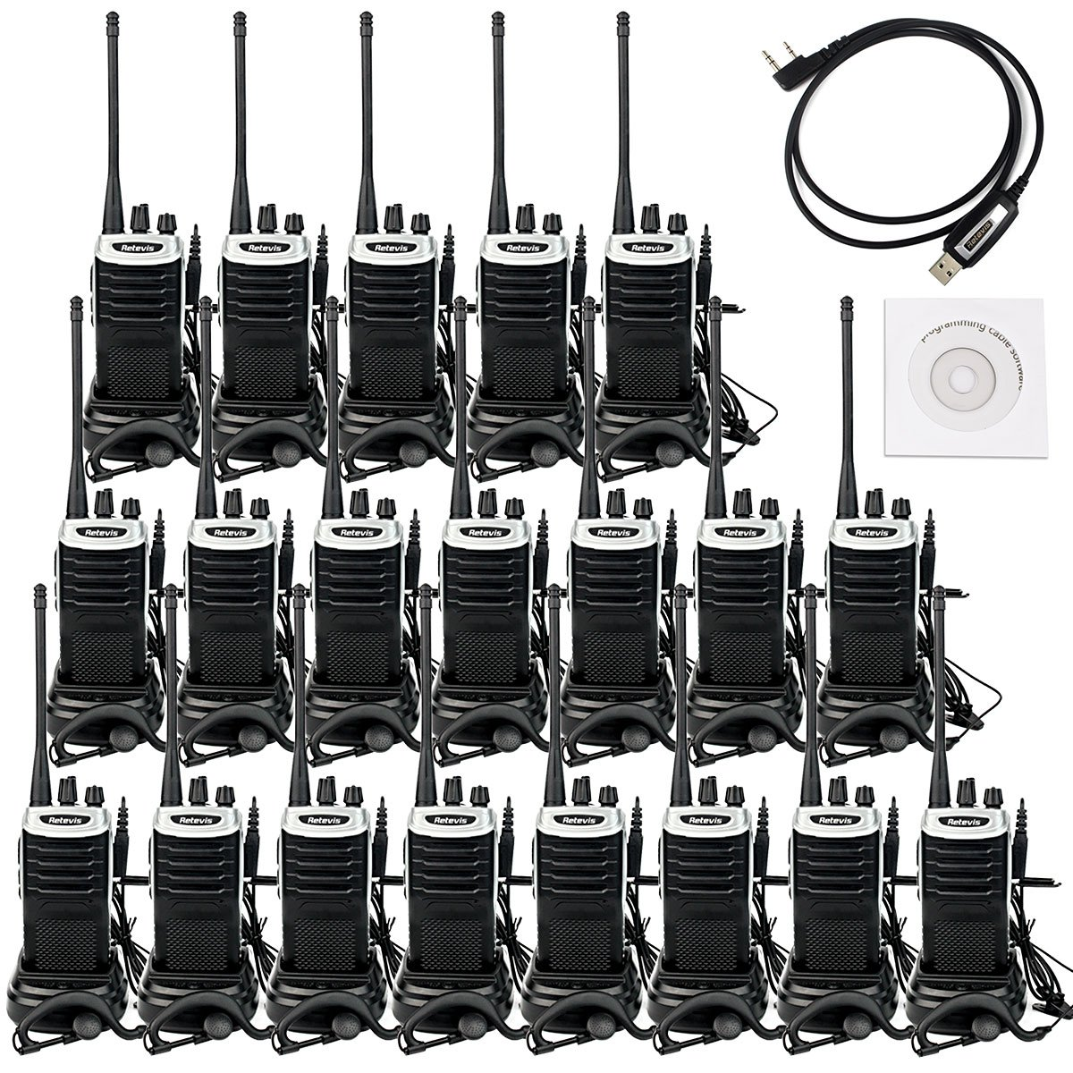 Retevis RT7 Walkie Talkies Rechargeable UHF 400-470MHz 3W 16CH Two Way Radio with Earpiece(20 Pack) and Programming Cable
