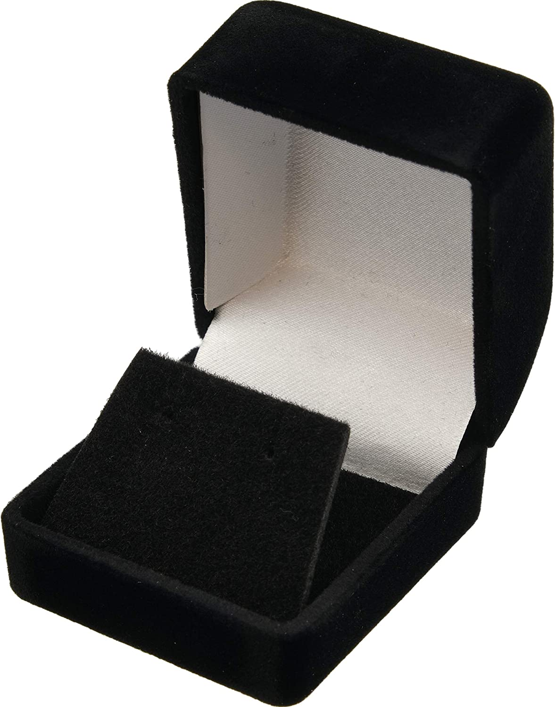 1 Jewel case box black gift rings earrings jewelry velvet display  Z8J4