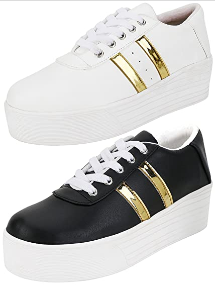 f48aaf15b0e ETHICS Perfect Combo Pack of 2 White & Black Gold Sneaker Shoes for Women