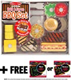 Grill & Serve BBQ Set: Wooden Play Food Set + FREE Melissa & Doug Scratch Art Mini-Pad Bundle (92807)
