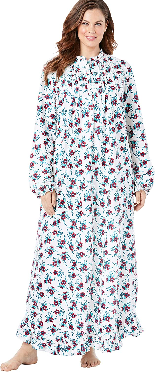 Only Necessities Womens Plus Size Long Flannel Nightgown