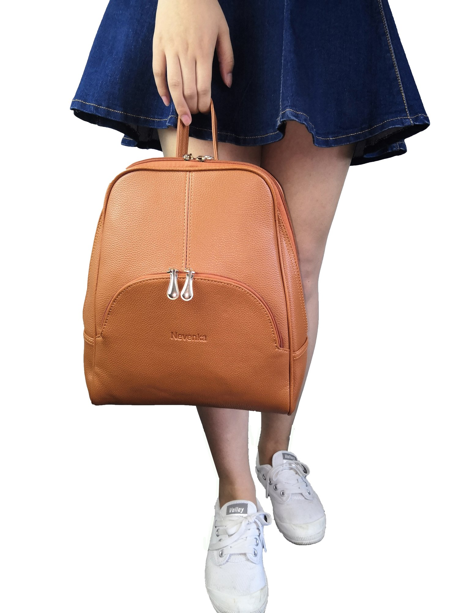 Nevenka Brand Women Bags Backpack Purse PU Leather Zipper Bags Casual Backpacks Shoulder Bags (Autumn Maple) by Nevenka (Image #6)
