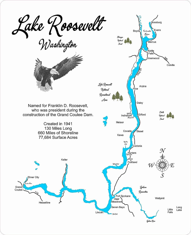 lake roosevelt washington map Amazon Com Lake Roosevelt Washington Framed Wood Map Wall lake roosevelt washington map