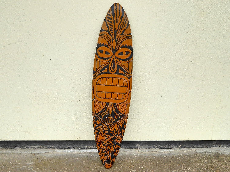 Mano de madera tallada y pintada Tiki, diseño de tabla de surf con texto en inglés 100 cm.....: Amazon.es: Hogar