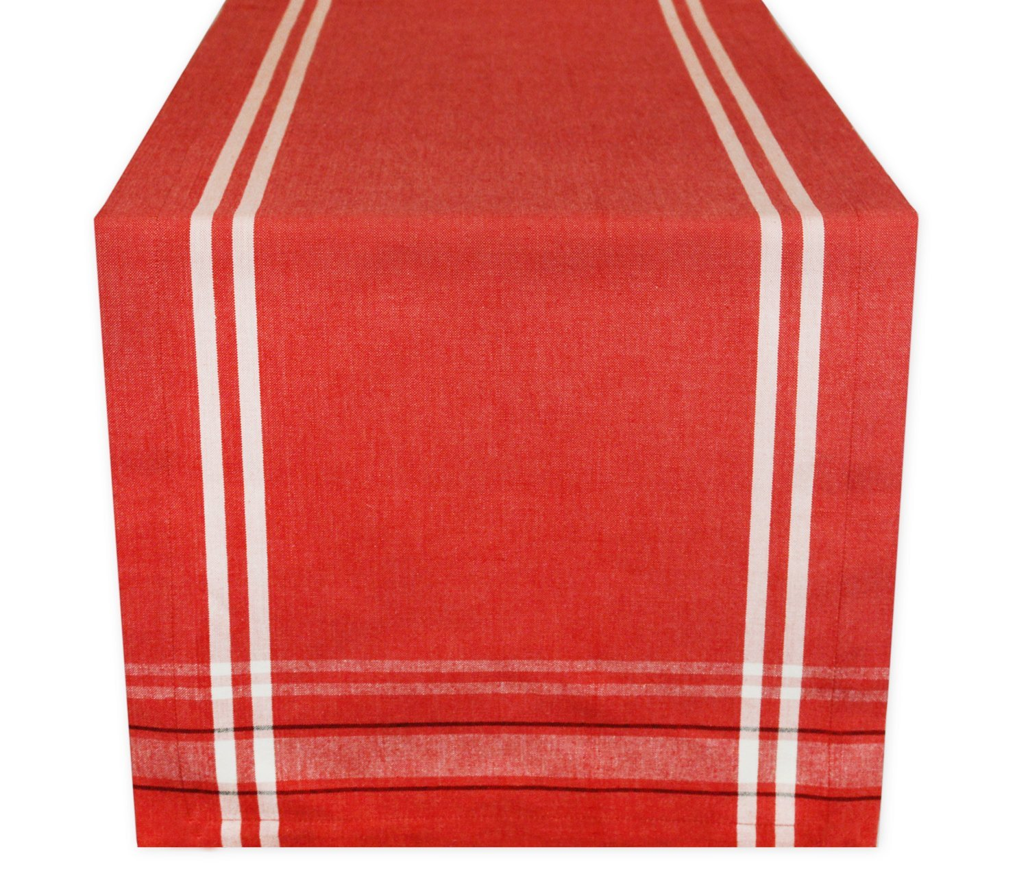 DII 100% Cotton, Machine Washable, Everyday French Stripe Kitchen Table Runner For Dinner Parties, Events, Decor 14x108'' - Red Chambray