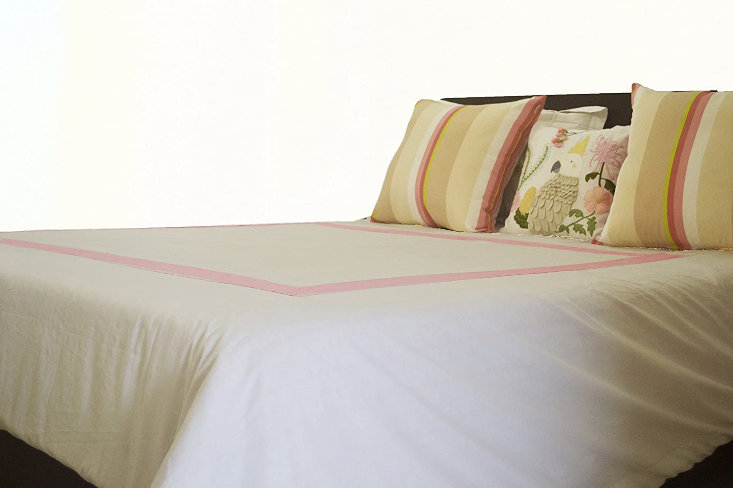 Image of Monogrammed Duvet Cover, White Duvet Cover, Girls Bedding, Pure Cotton Bed Cover, Dorm Bedding Home and Kitchen