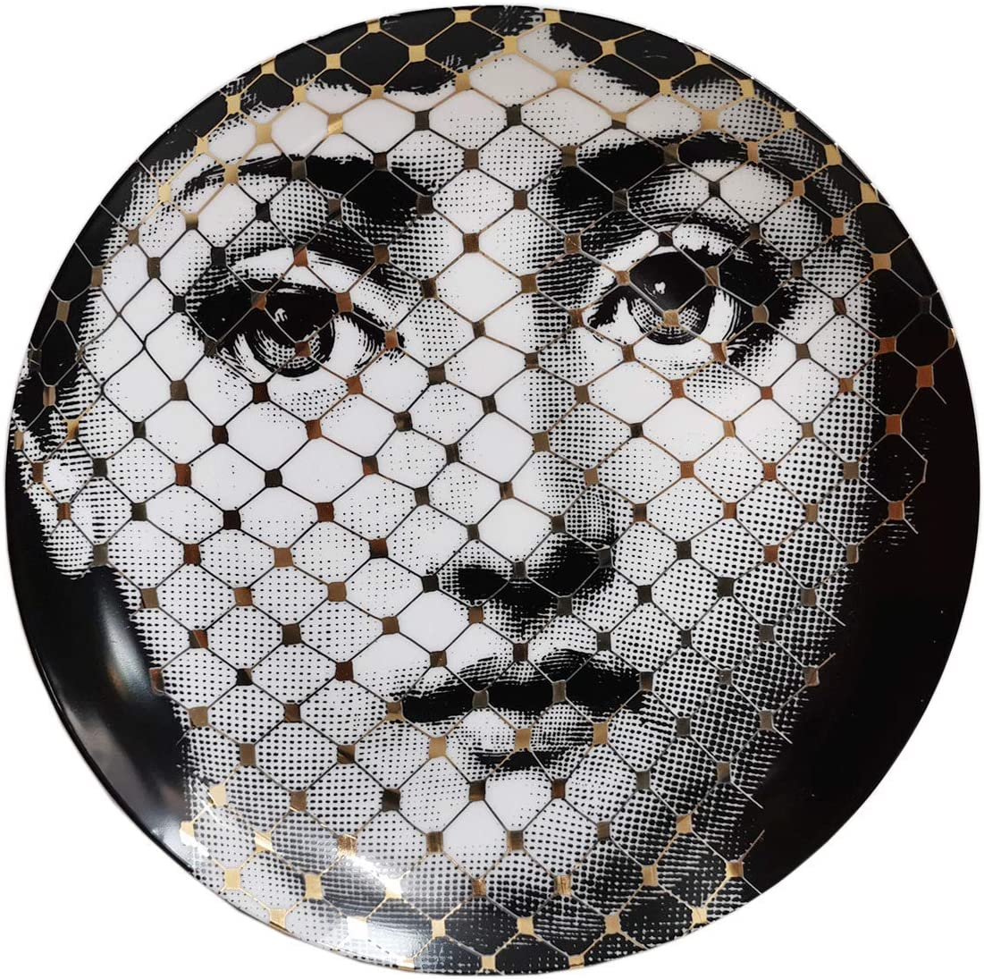 Wlixi Ceramic Gold Lady Face Decorative Plates for Wall Round Variety Facail Portrait Dish for Desk Decor Broken Face Milan Style Tray 8 inch (B3)