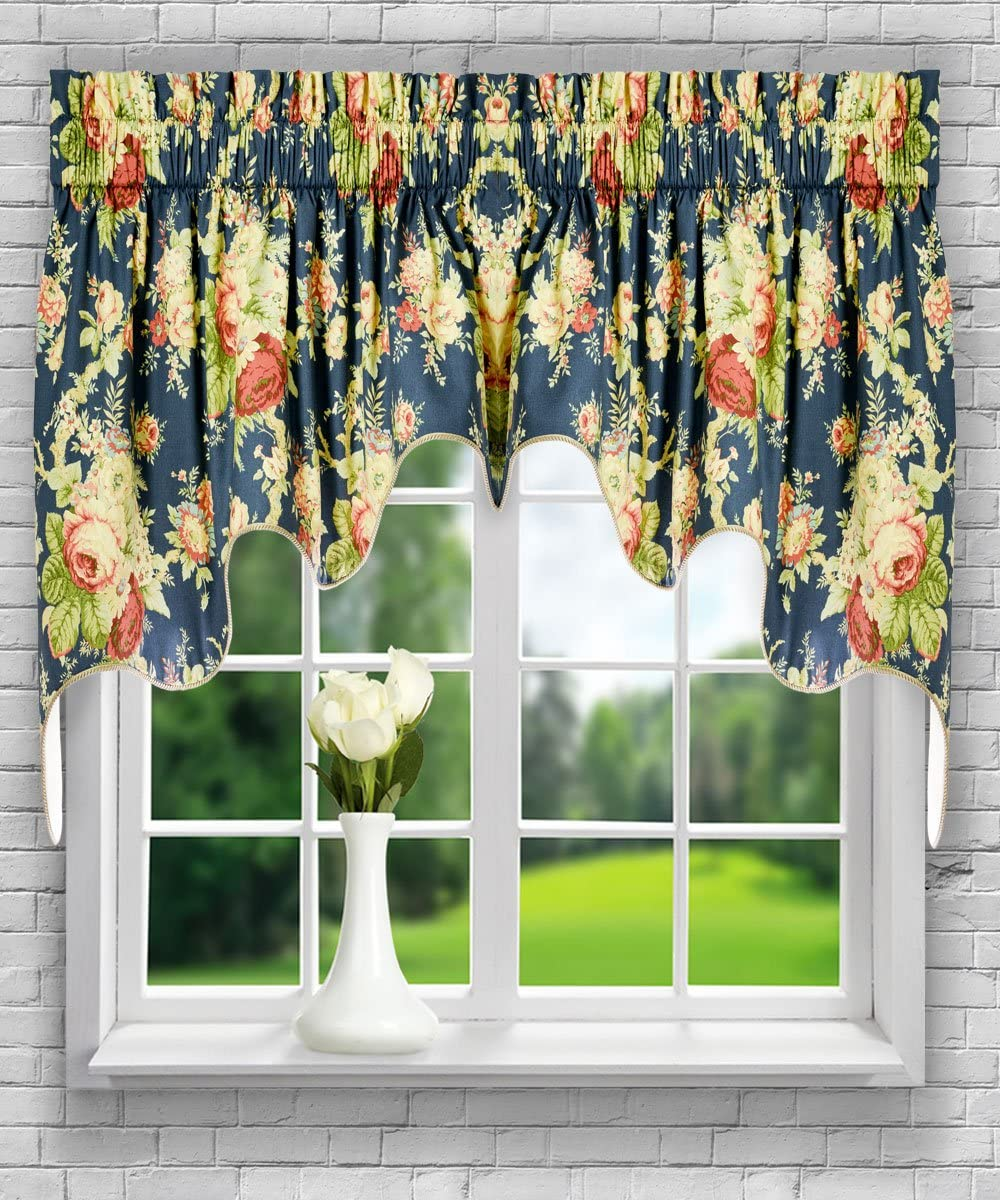 Ellis Curtain Sanctuary Rose 100-by-30 Inch Lined 2-Piece Duchess Valance, Heritage
