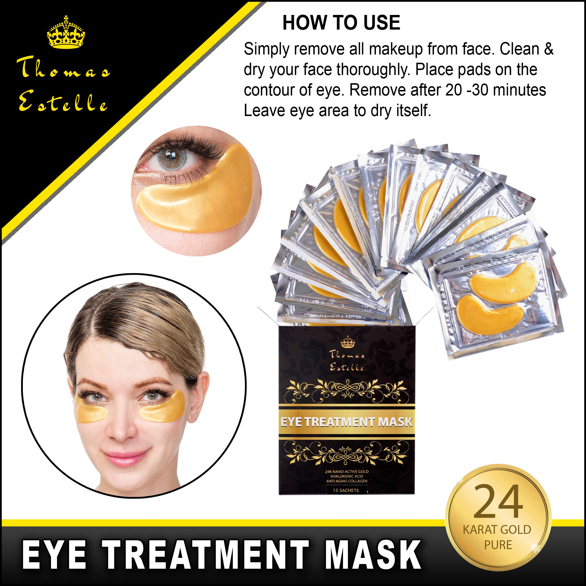 Under Eye Bags Treatment - Gel For Puffiness, Wrinkles, Dark Circles, Crows Feet, Puffy Eyes -24k Gold Luxury - The Best Natural Collagen Mask - Women And Men Masks - Anti Aging Moisturizer Pads by Thomas Estelle (Image #2)