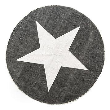 Runder teppich 160  Runder Teppich mit Stern, Baumwolle, anthrazit, ca. 160 cm: Amazon ...