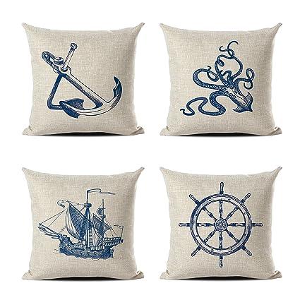 Amazon Retro Classic Stylish Nautical Decorative Pillowcases Custom Nautical Decorative Pillow Covers