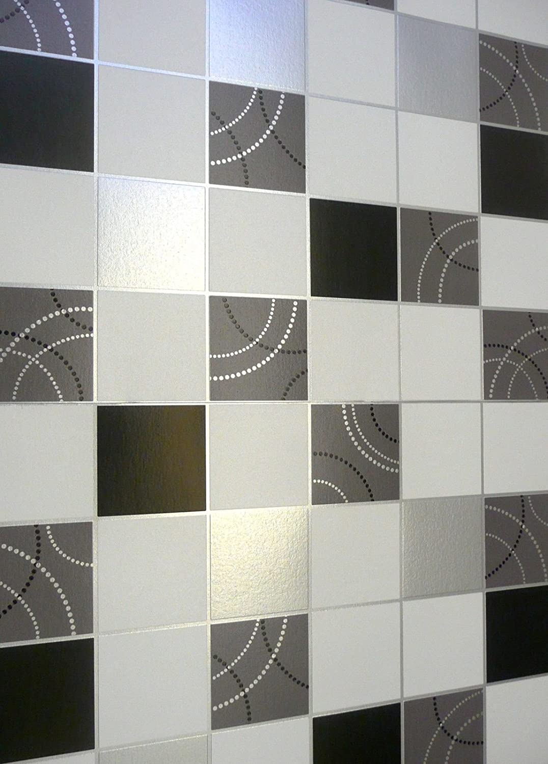 Debona Dotty Wallpaper Kitchen Bathroom Black Silver Tile Effect ...