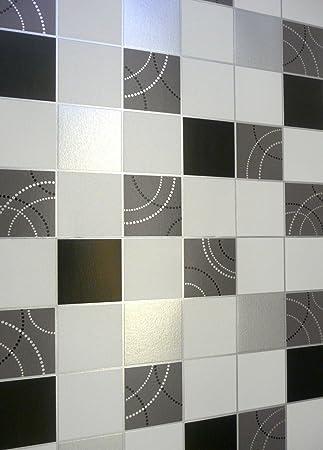 Attractive Debona Dotty Wallpaper Kitchen Bathroom Black Silver Tile Effect Washable