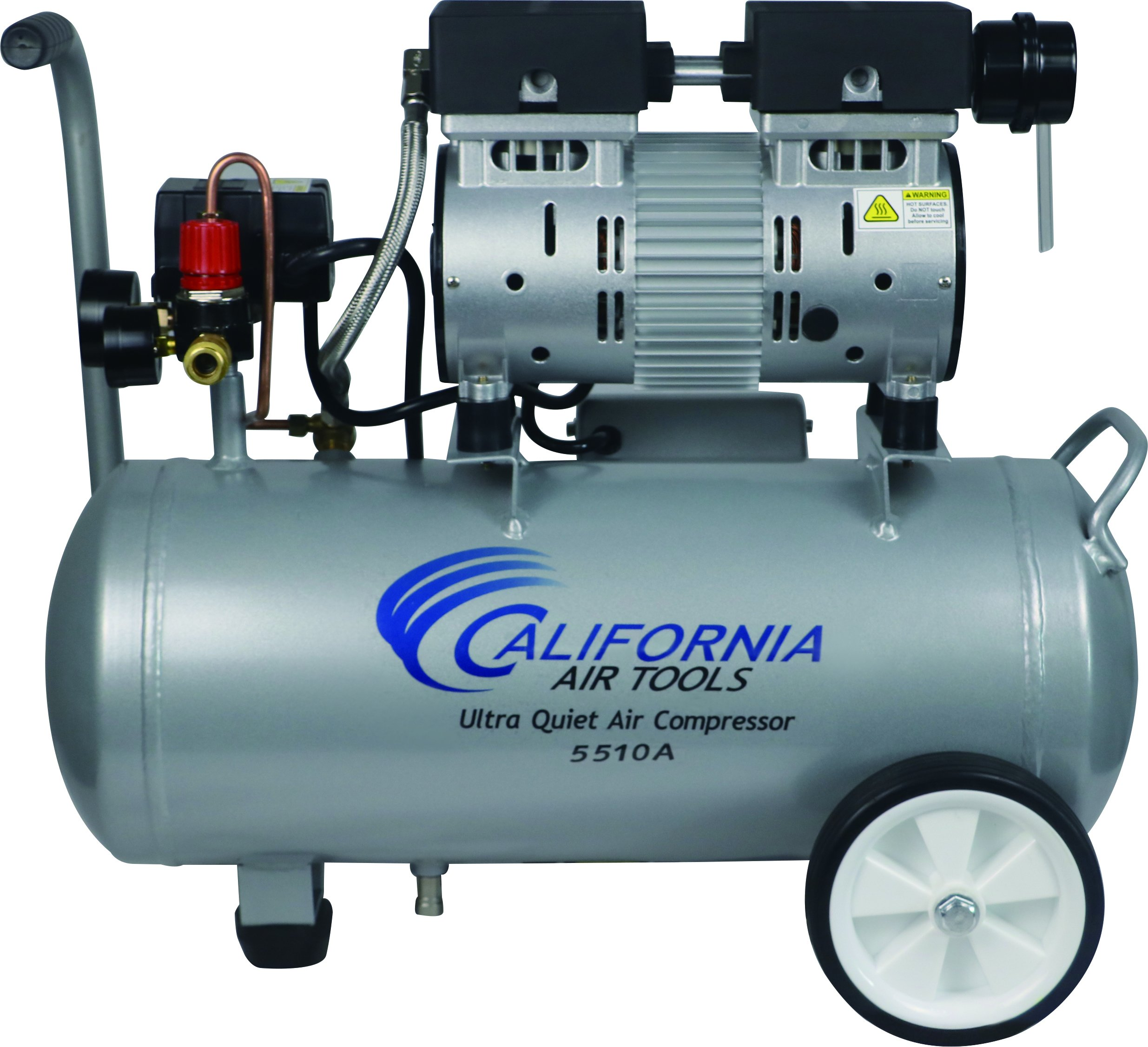California Air Tools CAT-5510A Ultra Quiet  & Oil-Free 1.0 hp 5.5 gallon Aluminum Portable Electric Portable Air Compressor, Silver by California Air Tools