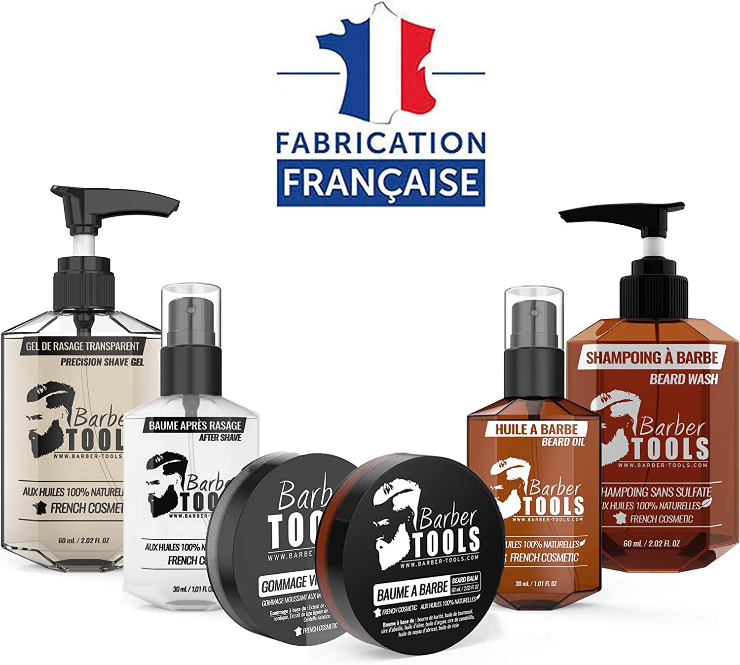 ✮ BARBER TOOLS ✮ Kit/Set/Estuche de arreglo y cuidado de la barba y afeitarse | Cosmético Made in French: Amazon.es: Belleza