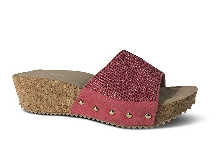 Damen Sandalen Pantoletten Keilabsatz Glitzer Wedge Sandaletten Plateau  (38, ST65 Pink) Schuhtraum 3d0c119287