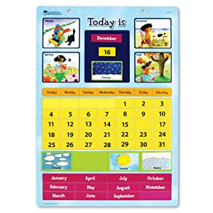"""Learning Resources Magnetic Learning Calendar, 51 Magnetic Pieces & Calendar, Measures 12"""" x 16-1/2"""", Ages 4+"""