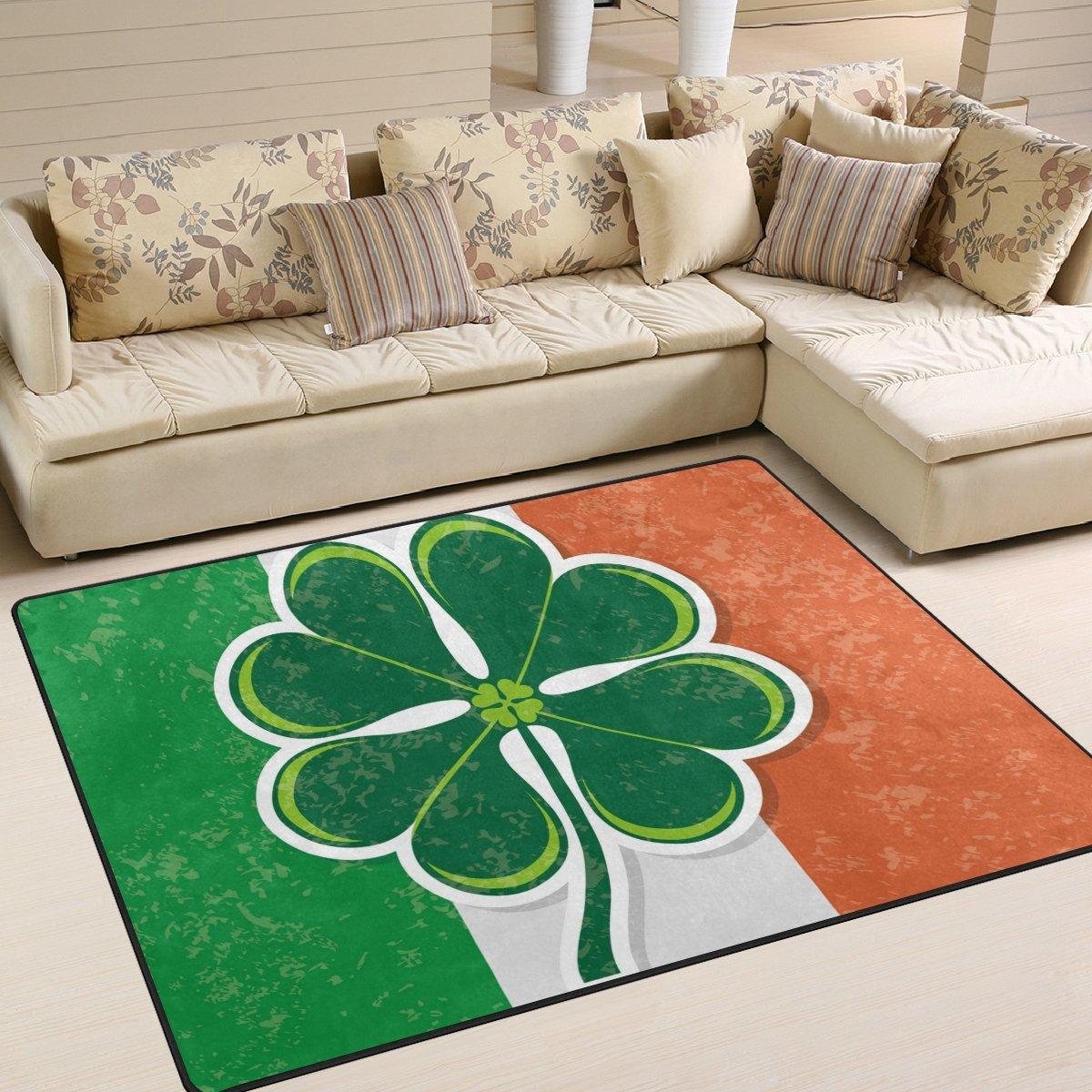 YZGO Grunge Clover Design Flag Kids Area Rug,Green Irish Day Non-Slip Floor Mat Soft Resting Area Doormats for Living Dining Bedroom 5.3' x 4'