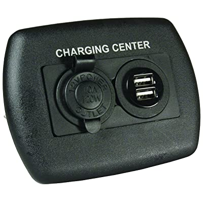 JR Products 15095 12V/USB Charging Center - Black: Automotive