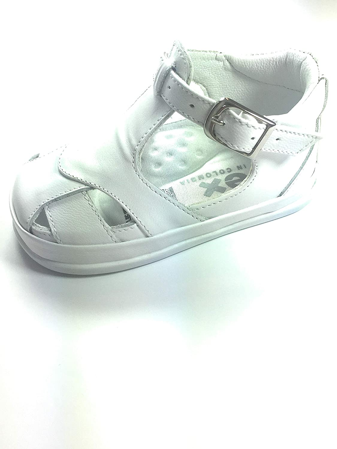 Pex Boys Shoes White, Leather Upper