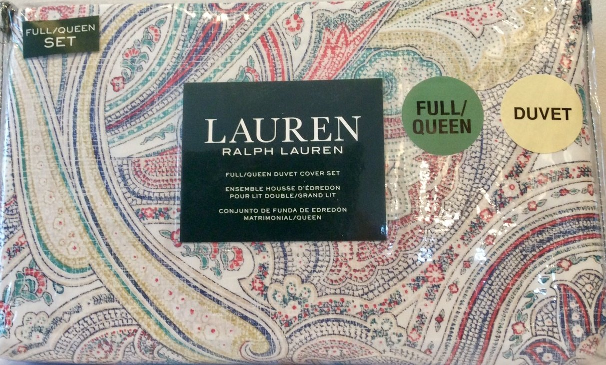 Ralph Lauren 3 Piece Duvet Cover Set Inked Paisley Reversible Pattern Green Yellow Red Blue White Full/Queen