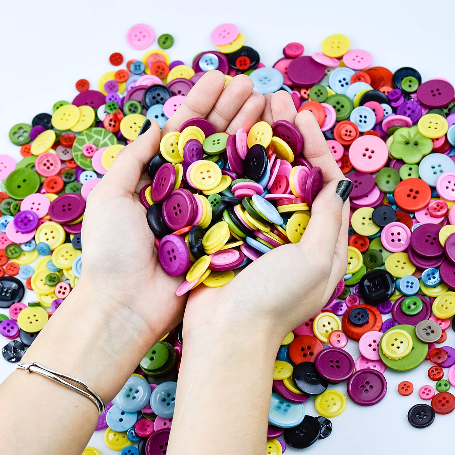 Wandefol 1000pcs Buttons Colorful Buttons Mixed Color Resin Buttons for All Craft Activities,