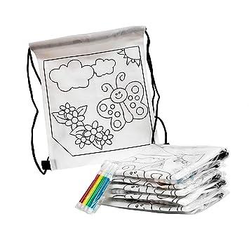 Fun Fan Line® - Set de Mochilas Infantiles para Colorear con diseño de Mariposa. Ideal para Fiestas de cumpleaños Infantiles ¡Incluye rotuladores de ...