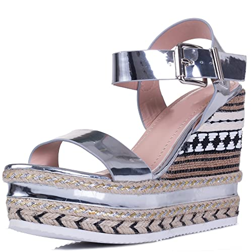 Spylovebuy Adjustable Buckle Wedge Heel Sandals Shoes Silver Leather Style SZ 8 xNdZhHc2Fq
