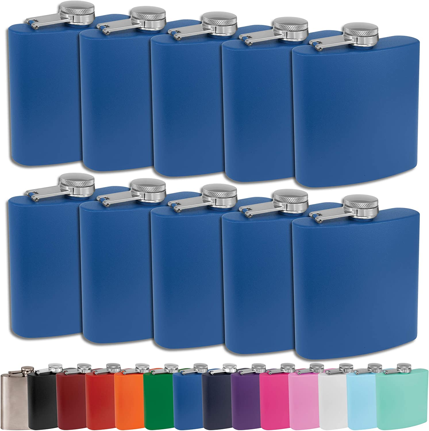 Clear Water Home Goods - 6 oz Powder Coated Stainless Steel Hip Flask - Wedding Party - Groomsman - Bridesmaid (Matte Royal Blue, 10)