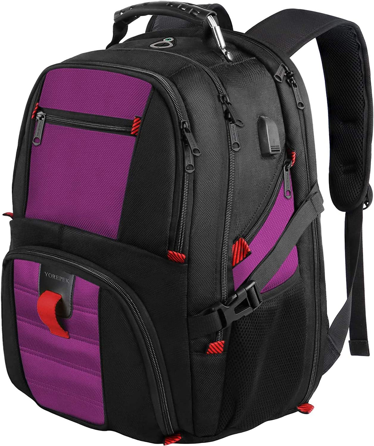 College Backpack, Extra Large Backpacks with USB Charging Port and Luggage Sleeve for Women and Men,TSA Friendly Travel Laptop Backpack,Anti-Theft Business Laptop Backpack Fits 17 Inch Laptops-Purple