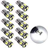 Sunnest 194 LED Light bulb, Super Bright 5730 Chipset LED Bulbs for Car Interior Lights Dome Map Door Courtesy License Plate Lights W5W 168 2825 T10 Wedge 10-SMD White Bulbs, Pack of 10