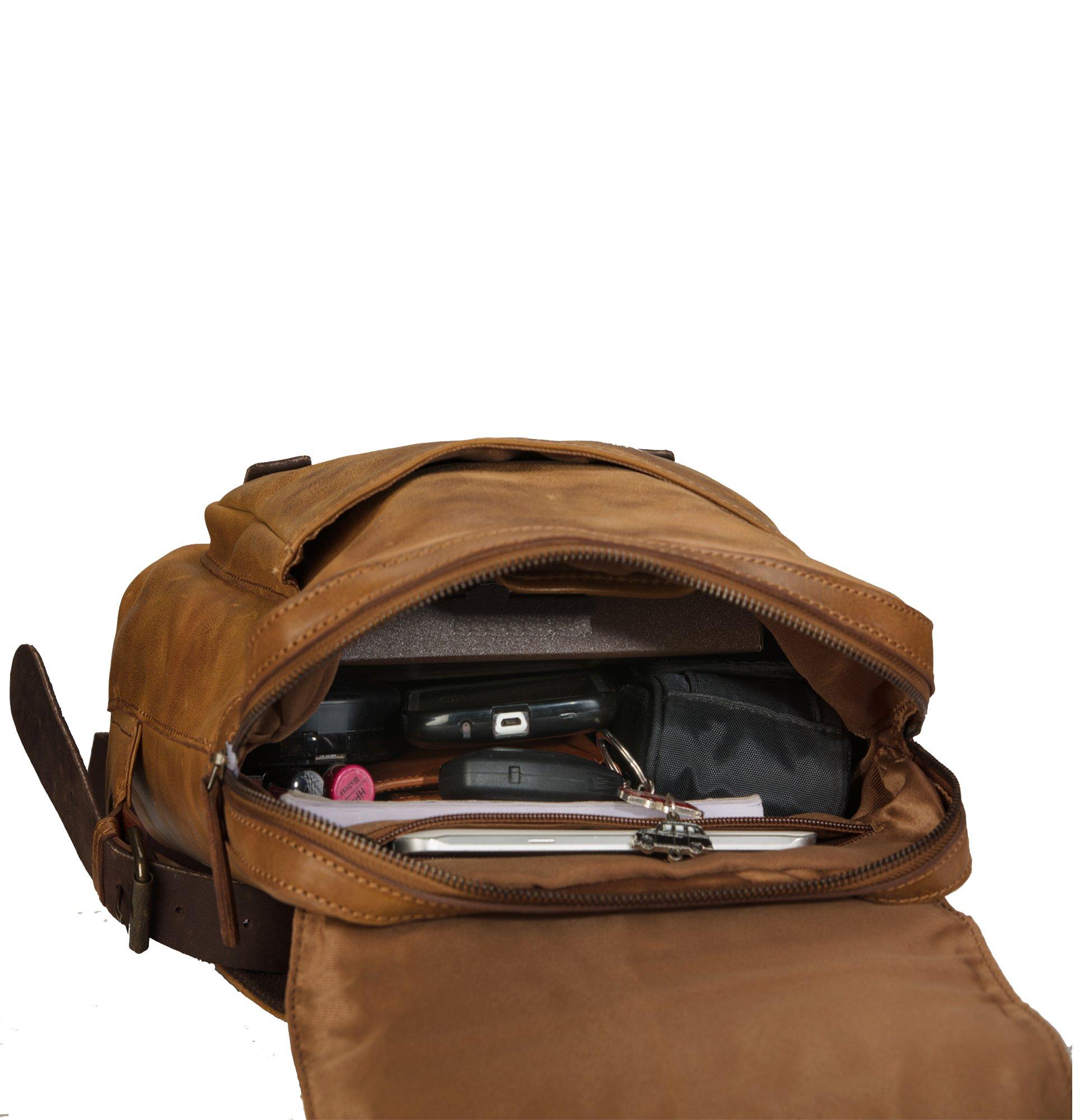 Finelaer Vintage Genuine Leather Backpack DayPack Travel College Bag Brown Men Women by FINELAER (Image #8)